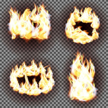 transparency: Realistic fire flames vector on transparent background
