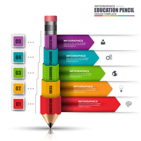Resumen de la educación lápiz 3D Infografía. Puede ser utilizado para el diseño de flujo de trabajo, la visualización de datos, concepto de negocio con 5 opciones, partes, etapas o procesos, bandera, diagrama, diseño de páginas web. Ilustración de vector