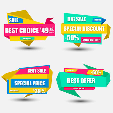 Collection sale paper banner. Sale background. Big sale. Sale tag. Sale poster. Sale vector. Super Sale and special offer, price, discount. Can be used for e-commerce, e-shopping. Vector illustration.