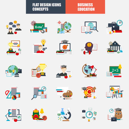 Collection of flat design concept icons for web and mobile services and applications. Icons for education, e-learning,   online education, knowledge, online learning, learn to think.