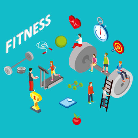 big woman: Flat 3d isometric style fitness web infographics concept. Woman racer run on big treadmill with heart monitor healthy   sporty lifestyle. Conceptual website info graphics collection.