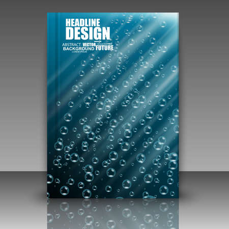Abstract composition, water bulb, air bead in ocean, a4 brochure title sheet, space background, for web, print, magazine,   , typography. 일러스트