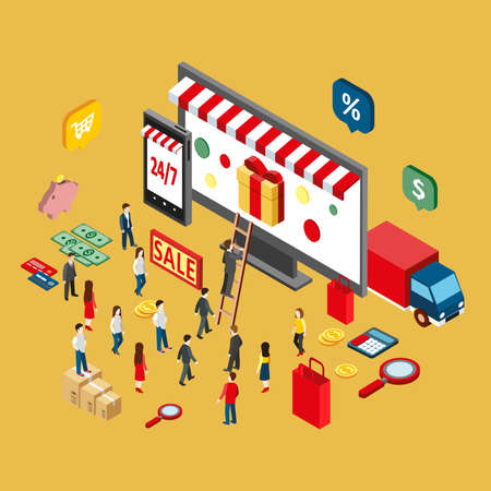 internet sale: Flat 3d isometric style design concepts for e-commerce, e-shopping, internet sale, online store, web infographic. Concepts for web banner and printed materials.