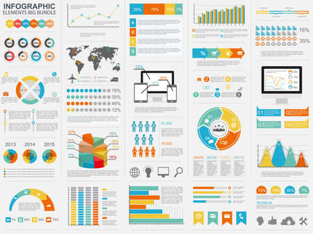 Collection of flat infographic vector design template. Can be used for workflow processes, flow chart, banner, number options, web design, infographic elements, business planning.