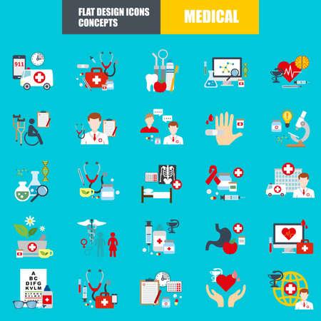 Piso concepto de conjunto de iconos médicos de suministros médicos, diagnóstico y tratamiento de la salud, pruebas de laboratorio, medicamentos y equipos. Concepto del vector para el diseño gráfico y web.