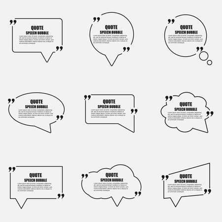 quotation marks: Quote speech bubble vector design template. Circle business card template, paper sheet, information, text. Print design. Short quotes in quotation marks.