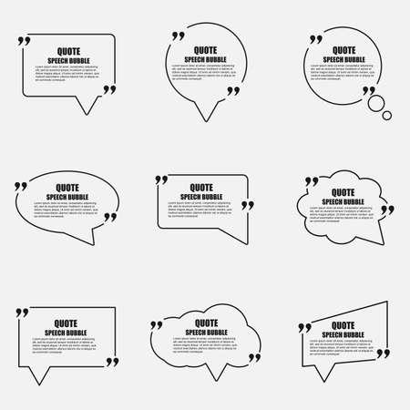 Zitat Sprechblase Vektor-Design-Vorlage. Kreis Visitenkarten Vorlage, Papierblatt, Informationen, Text. Druckdesign. Kurze Zitate in Anführungszeichen. Standard-Bild - 52527802
