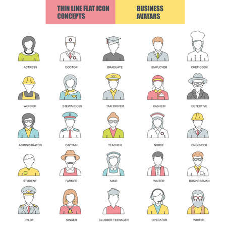 occupations: Flat thin line icons collection of people avatars for profile page, social network, social media, different age man and   woman characters, professional human occupation, portfolio. Logo concept.