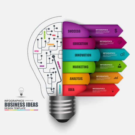 business plan: Infographic business light bulb vector design template. Can be used for workflow processes, startup, banner, diagram,   number options, work plan, web design.