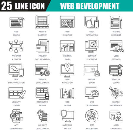customization: Thin line icons set of web design and development, web coding, API programming and customization. Modern flat linear concept pictogram, set outline symbol for graphic and web designers.