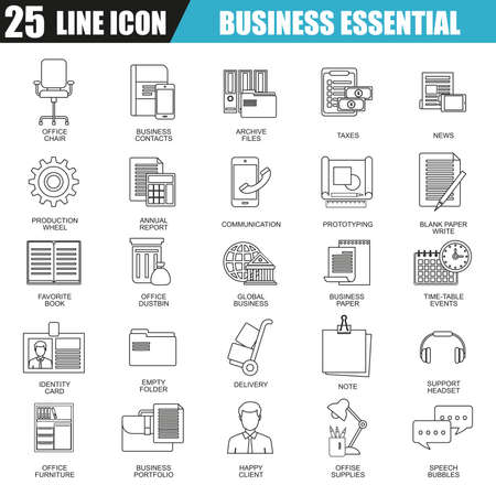 business equipment: Thin line icons set of business tools, office essential equipment. Modern flat linear concept pictogram, set outline symbol for graphic and web designers.