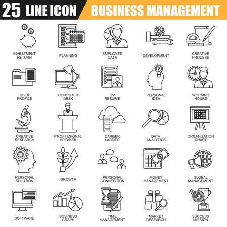 career management: Thin line icons set of management, business leadership training and corporate career. Modern flat linear concept pictogram, set outline symbol for graphic and web designers.