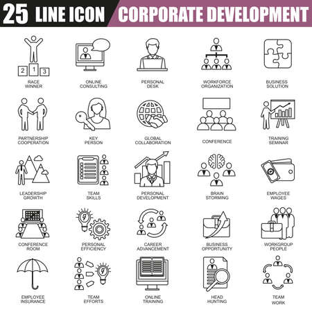 leadership training: Thin line icons set of corporate development, business leadership training and corporate career. Modern flat linear concept pictogram, set outline symbol for graphic and web designers.