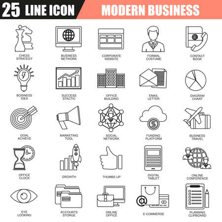 thin bulb: Thin line icons set of doing business using marketing technology ideas. Modern flat linear concept pictogram, set outline symbol for graphic and web designers.