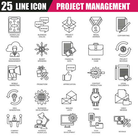 leadership training: Thin line icons set of project management, business leadership training and corporate career. Modern flat linear concept pictogram, set outline symbol for graphic and web designers.