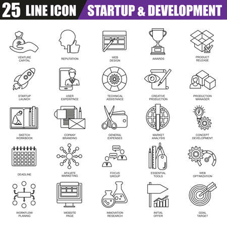 thin bulb: Thin line icons set of business startup, market vision and mission. Modern flat linear concept pictogram, set outline symbol for graphic and web designers.