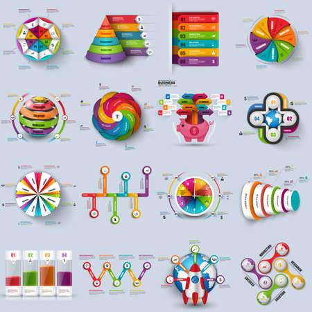 Sammlung von 3D-Infografik Vektor-Design-Vorlage. Kann für Workflow-Prozesse, Zyklusdiagramm, Flussdiagramm, Banner, Anzahl Optionen, Web-Design, Infografik Elemente, Unternehmensplanung verwendet. Vektorgrafik