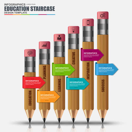 business education: Abstract 3D education stair success pencil Infographic. Can be used for workflow layout, data visualization, business concept with 6 options, parts, steps or processes, banner, diagram, web design. Illustration