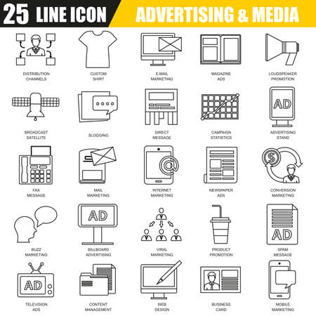 distribution: Thin line icons set of advertising media channels and ads distribution. Modern flat linear concept pictogram, set outline symbol for graphic and web designers. Illustration