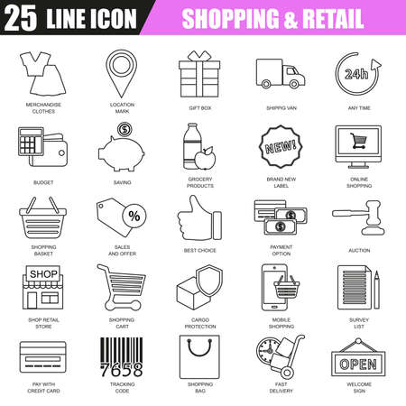 retail sales: Thin line icons set of e-commerce, internet shopping, retail store and online sales. Modern flat linear concept pictogram, set outline symbol for graphic and web designers.