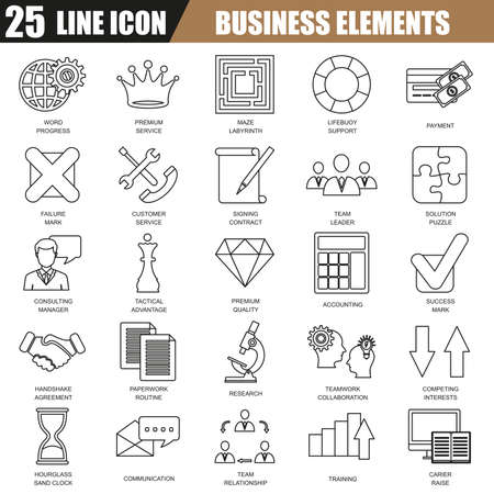 web solution: Thin line icons set of doing business elements, solution for clients, business strategy and analytics. Modern flat linear concept pictogram, set outline symbol for graphic and web designers.