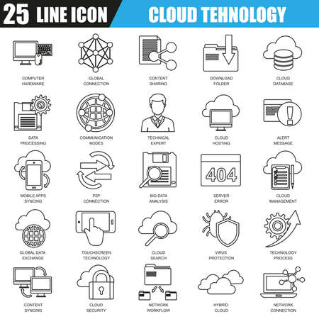 syncing: Thin line icons set of cloud data technology services, global connection, cloud computing. Modern flat linear concept pictogram, set outline symbol for graphic and web designers.