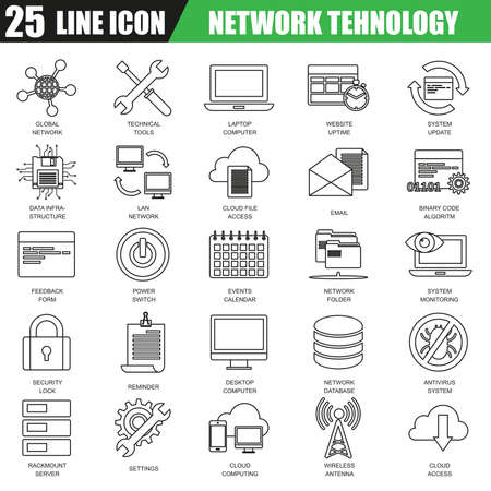Thin line icons set of cloud computing data network technology services, global connection. Modern flat linear concept pictogram, set outline symbol for graphic and web designers.