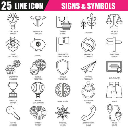 brain research: Thin line icons set of various business sing and symbols, metaphor elements. Modern flat linear concept pictogram, set outline symbol for graphic and web designers. Illustration