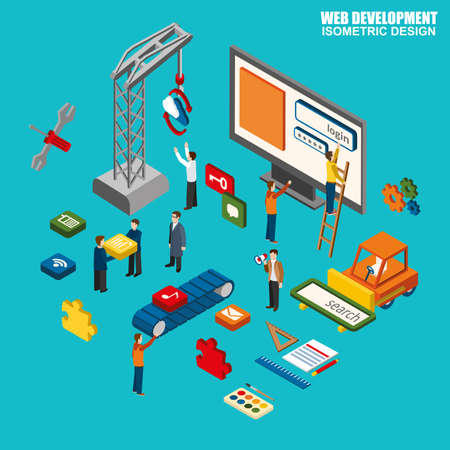 customization: Flat 3d isometric of web design and development, web coding, API programming and customization. Modern flat concept pictogram, set isometry icons for graphic and web designers.