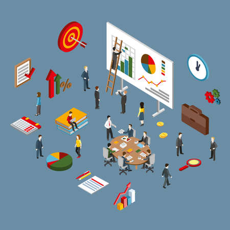 management team: Flat 3d isometric of project management, business leadership training and corporate career. Modern flat concept pictogram, set isometry icons for graphic and web designers.