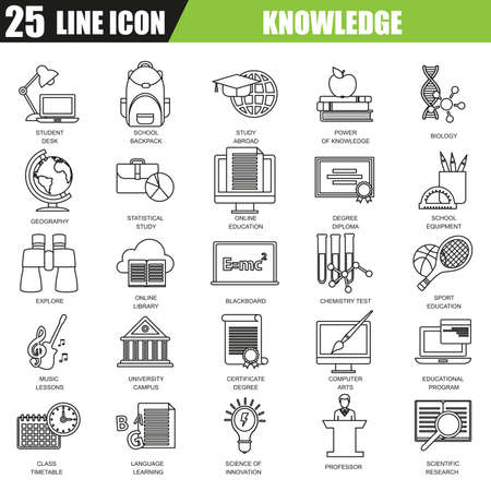 university campus: Thin line icons set of distance school education training and study online. Modern flat linear concept pictogram, set outline symbol for graphic and web designers.