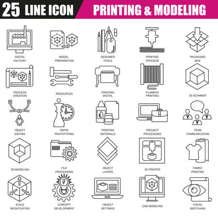rapid prototyping: Thin line icons set of 3D printing and modeling technology. Modern flat linear concept pictogram, set outline symbol for graphic and web designers.