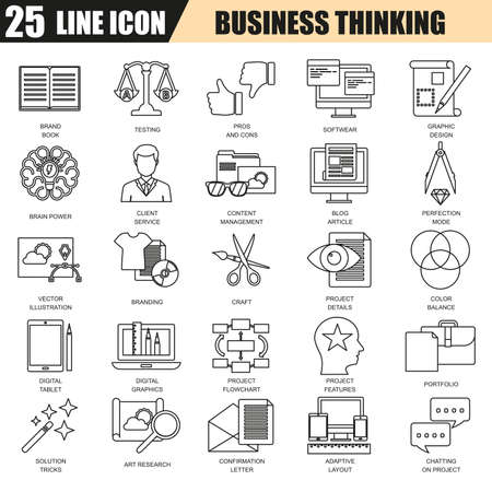 usability: Thin line icons set of business content management, usability thinking. Modern flat linear concept pictogram, set outline symbol for graphic and web designers.