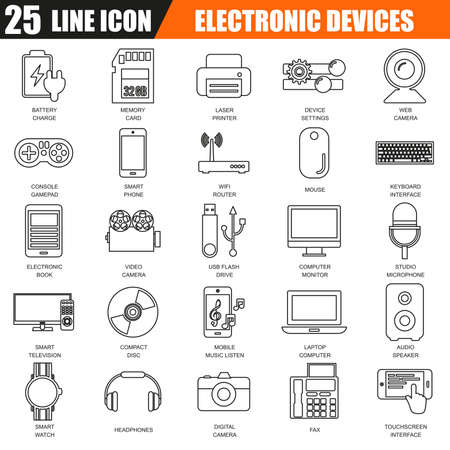 multimedia: Thin line icons set of computer electronics and multimedia devices. Modern flat linear concept pictogram, set outline symbol for graphic and web designers. Illustration