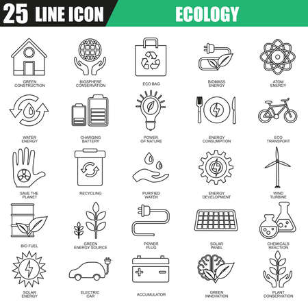 biosphere: Thin line icons set of ecological energy source, environmental safety. Modern flat linear concept pictogram, set outline symbol for graphic and web designers.