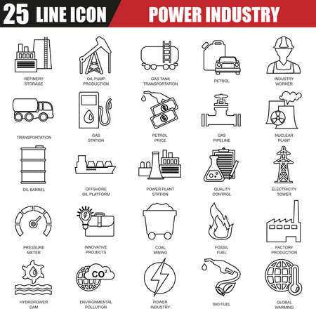 industry icons: Thin line icons set of power plant, extraction of various resources, electricity industry. Modern flat linear concept pictogram, set outline symbol for graphic and web designers. Illustration