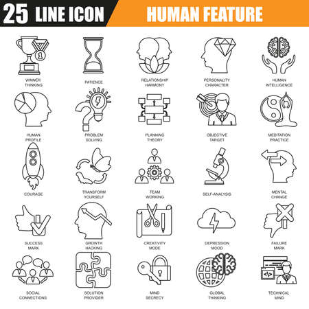 personality character: Thin line icons set of various mental features of human brain. Modern flat linear concept pictogram, set outline symbol for graphic and web designers.