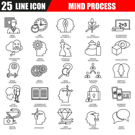intellectually: Thin line icons set of human brain features, mind process. Modern flat linear concept pictogram, set outline symbol for graphic and web designers. Illustration