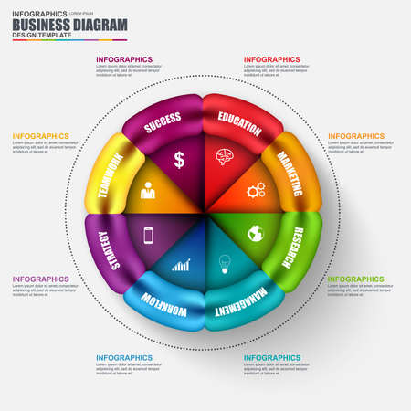 circular: Abstract 3D business circular diagram Infographic. Can be used for workflow layout, data visualization, business concept with 6 options, parts, steps or processes, banner, chart, web design. Illustration