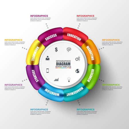 diagrama: negocio 3D diagrama circular Resumen Infografía. Puede ser utilizado para el diseño de flujo de trabajo, la visualización de datos, concepto de negocio con 6 opciones, partes, etapas o procesos, bandera, gráfico, diseño web. Vectores