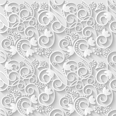 wedding invitation vintage: Floral 3d White Paper Pattern Background. Vector illustration. Illustration