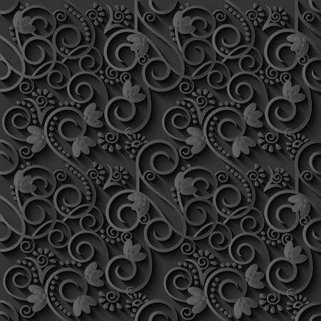 curly: Floral 3d Black Paper Pattern Background. Vector illustration.