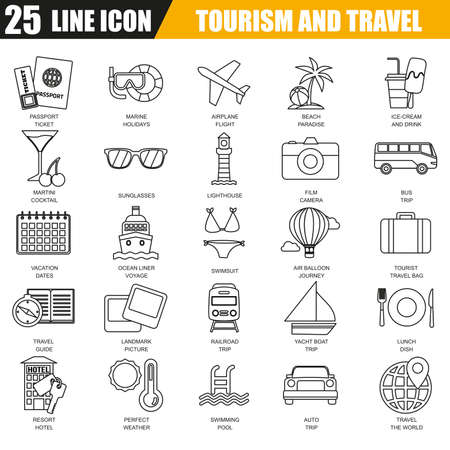 adventures: Thin line icons set of tourism recreation, travel vacation to resort hotel. Modern flat linear concept pictogram, set outline symbol for graphic and web designers.