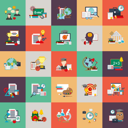 Flat conceptual icons set of education process, online learning, e-book, webinar, business training, distance education, science, creative process, university and courses, knowledge. Flat vector icon.
