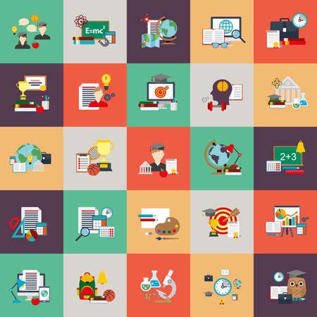 iconos conceptuales planas conjunto de proceso de la educación, el aprendizaje en línea, libros electrónicos, seminarios web, formación empresarial, educación a distancia, la ciencia, proceso creativo, universitarios y cursos, de conocimiento. icono de vectores plana. Ilustración de vector