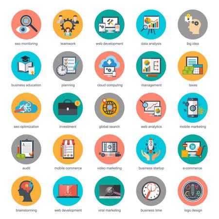Płaskie koncepcyjne ikony zestaw seo monitorowania i marketingu cyfrowego, procesu twórczego, biznesu i finansów, biurowych, pracy zespołowej, analizy danych, uruchamiania, planowania i analityki internetowej. Płaski ikon wektorowych.
