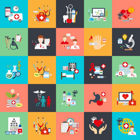 health: 온라인 의료 지원, 가족 건강 관리, 건강 보험, 약국, 의료 서비스, 실험실 검사, 구급차, 온라인 약국 세트 평면 개념 아이콘입니다. 평면 벡터 아이콘 일러스트