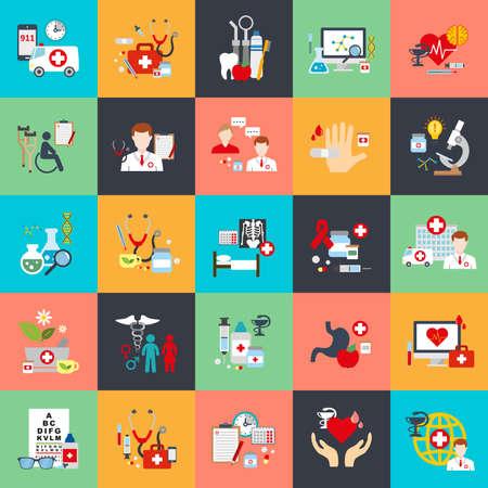 hälsovård: Platta konceptuella ikoner som online medicinskt stöd, familj sjukvård, sjukförsäkring, apotek, sjukvård, laboratorietester, ambulans, onlineapotek. Platt vektor ikon.