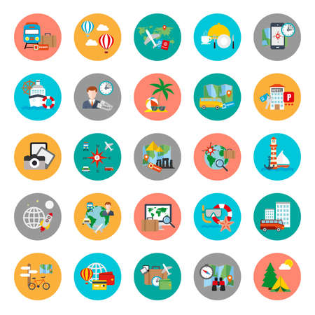 Flat conceptual icons set of tourism recreation, travel vacation to resort hotel. Flat vector icon.