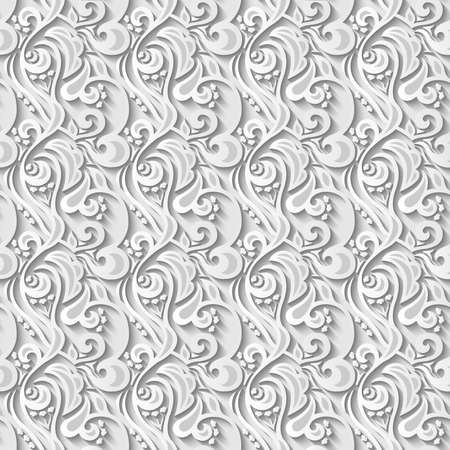 seamless floral pattern: Floral 3d Seamless White Paper Pattern Background. Vector illustration.